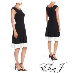 Eliza J Colorblock Fit & Flare Sweater Dress